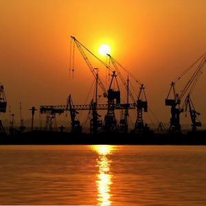 sunset, port, cranes