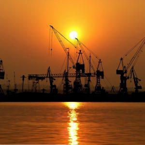 sunset, port, cranes